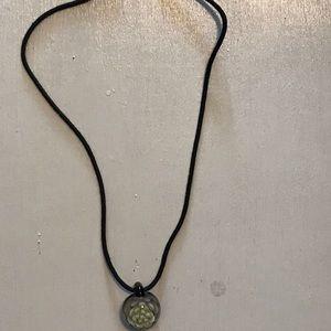 Glass flower pendant necklace